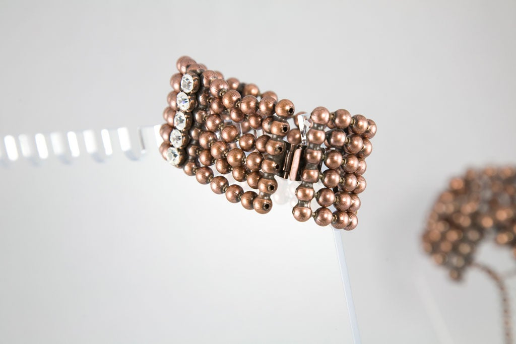 Bronze Bead and Rhinestone Choker and matching Bracelet 8