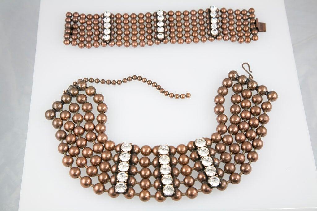 Bronze Bead and Rhinestone Choker and matching Bracelet 9