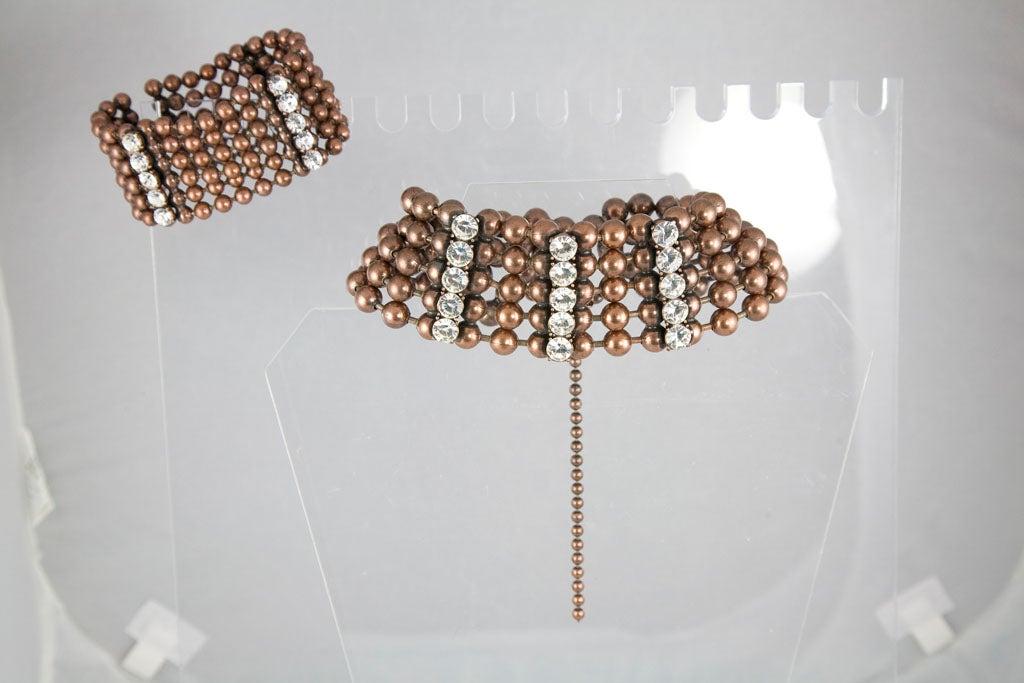Bronze Bead and Rhinestone Choker and matching Bracelet 10
