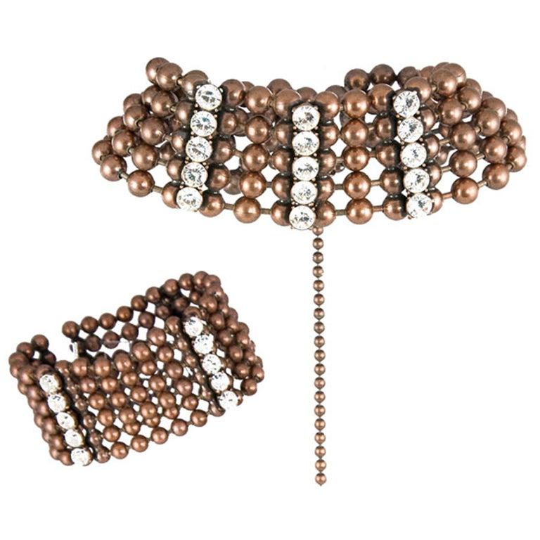 Bronze Bead and Rhinestone Choker and matching Bracelet 1
