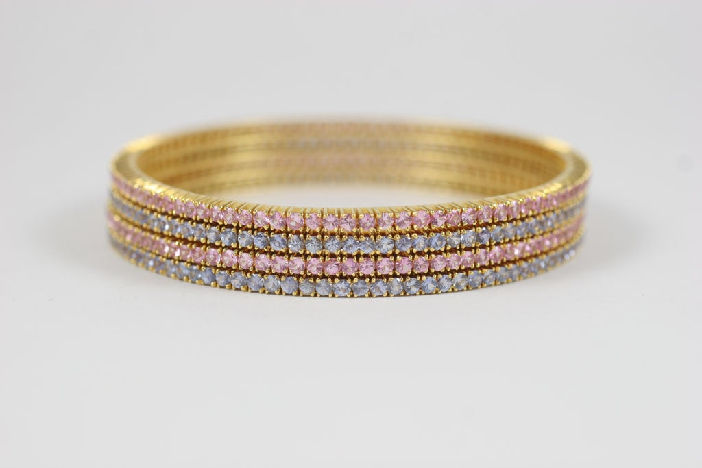 Women's Pink and Blue Sapphire Bangles For Sale
