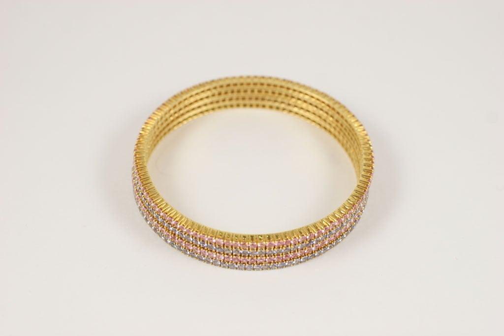 Pink and Blue Sapphire Bangles For Sale 1