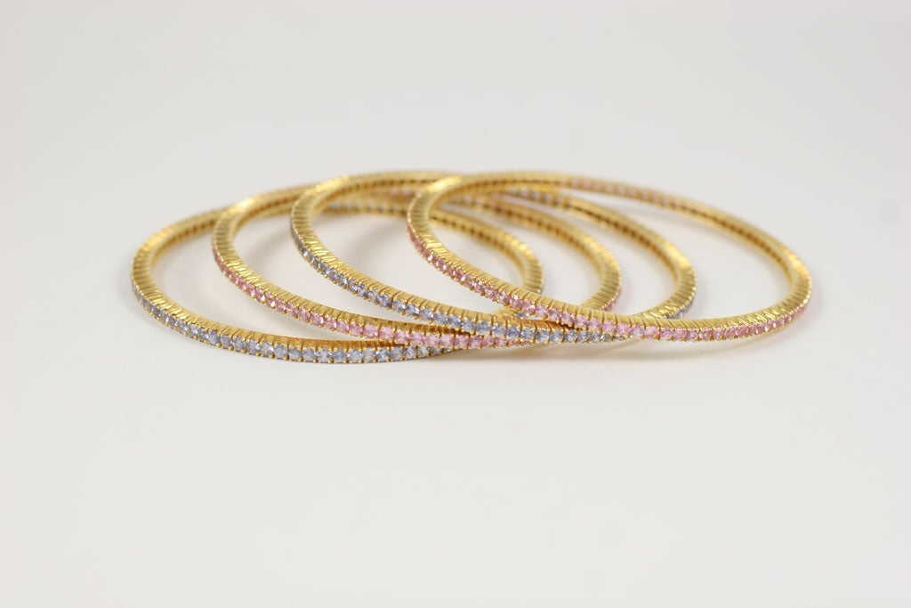 Pink and Blue Sapphire Bangles For Sale 2