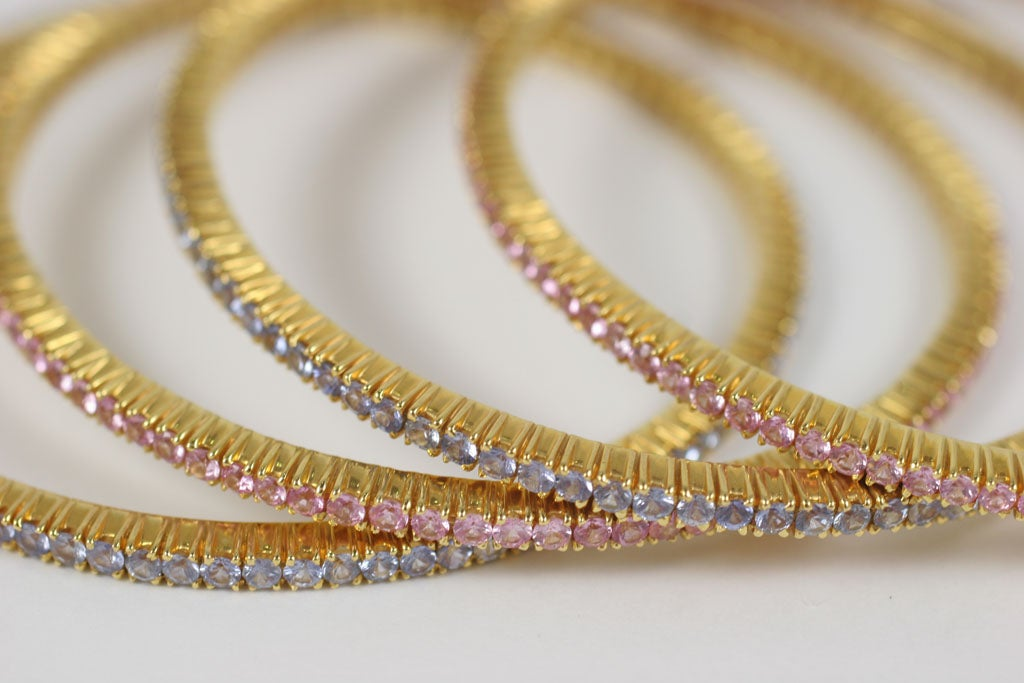 Pink and Blue Sapphire Bangles For Sale 5