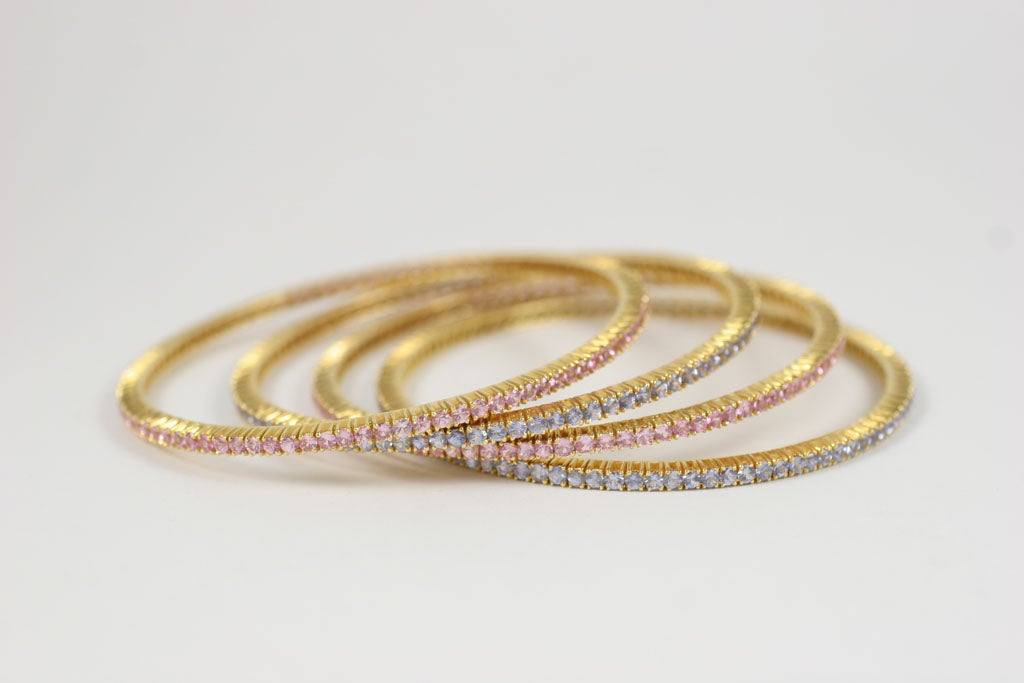 Pink and Blue Sapphire Bangles For Sale 6