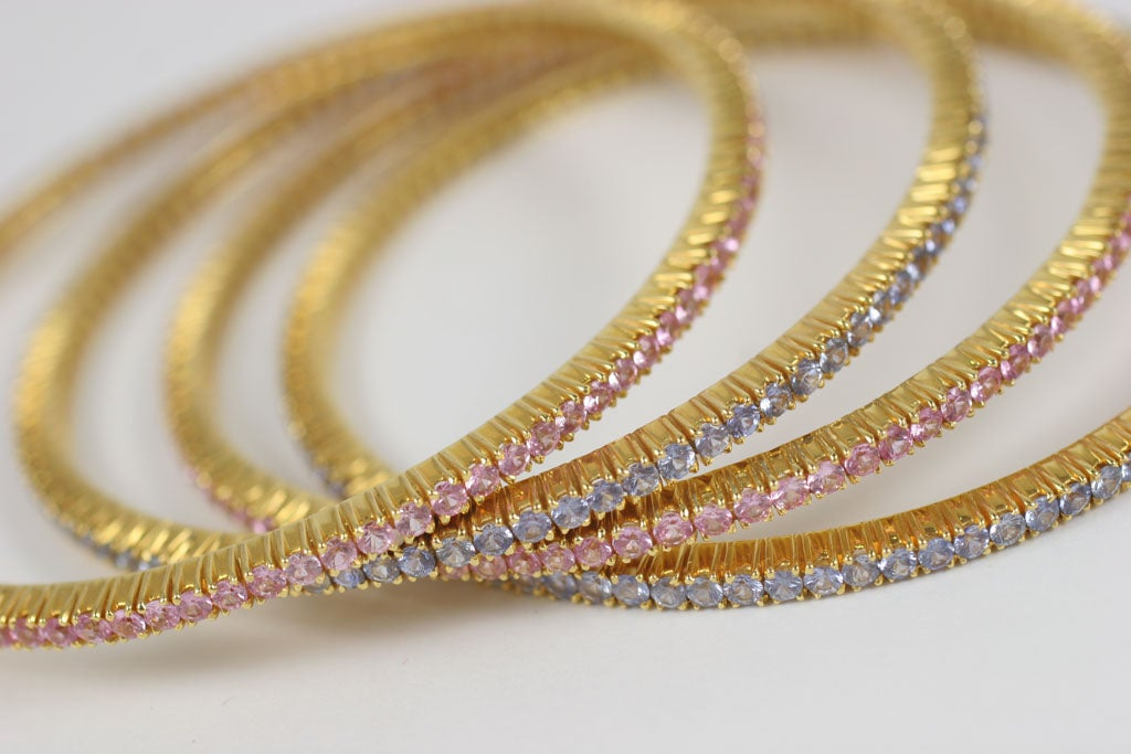 Pink and Blue Sapphire Bangles For Sale 7