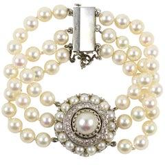 Lucien Piccard White Gold, Pearl & Diamond Bracelet Watch