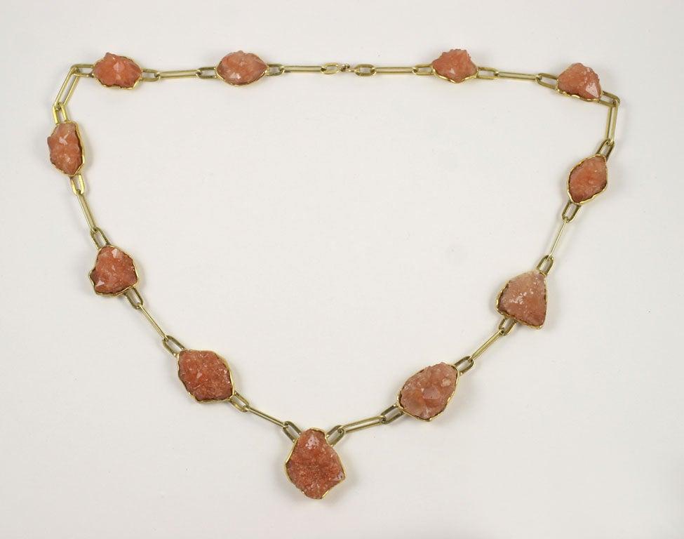 14kt Yellow Gold & Desert Rose Quartz Necklace 2