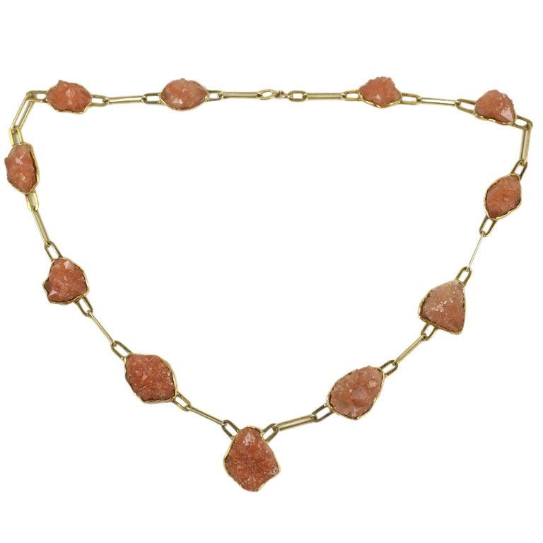 14kt Yellow Gold & Desert Rose Quartz Necklace