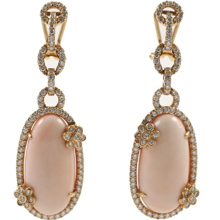 Diamond and Coral Earrings 1