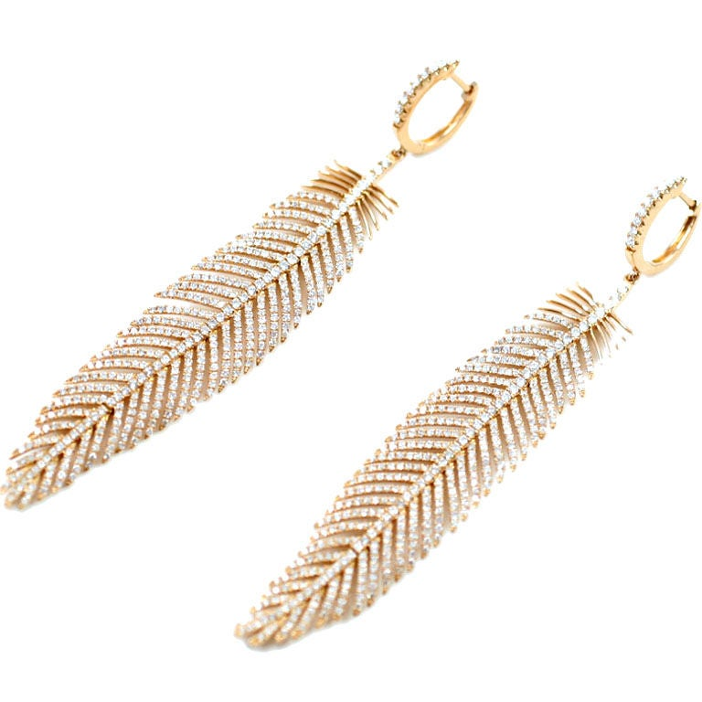 Diamond Feather Earrings At 1stdibs