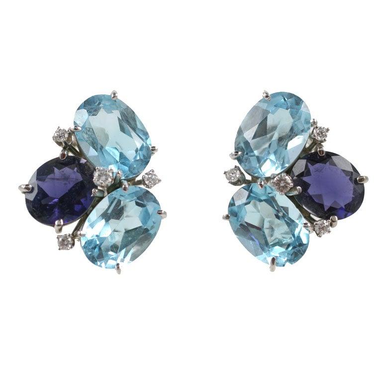 Blue Topaz and Iolite Pebble Earrings