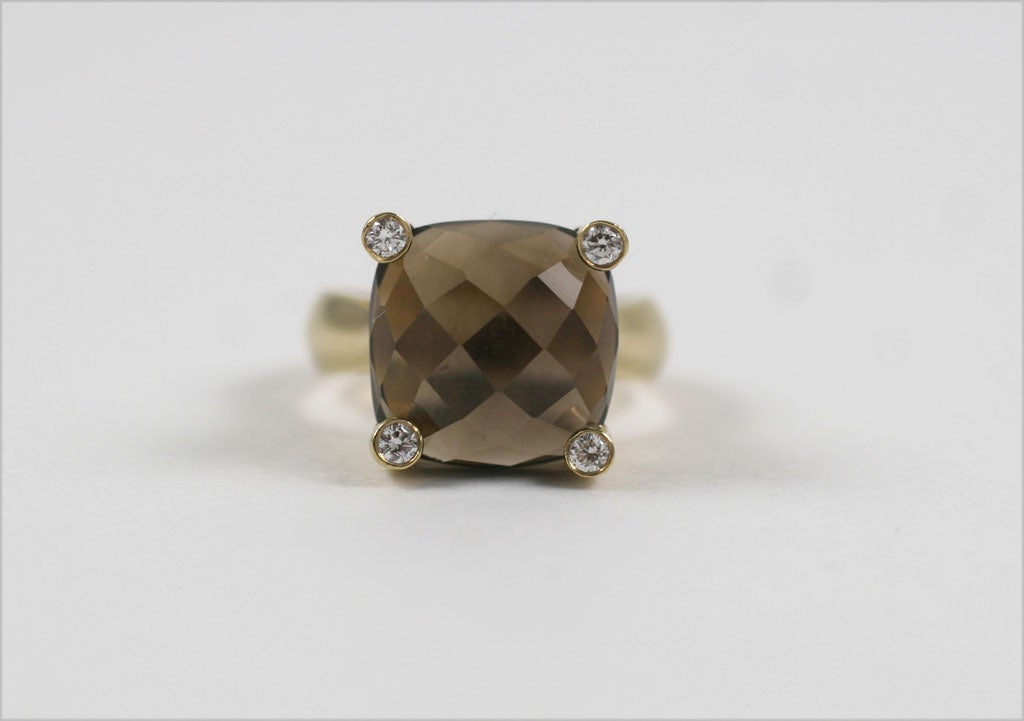 Smoky Topaz Cabochon Ring In New Condition For Sale In New York, NY