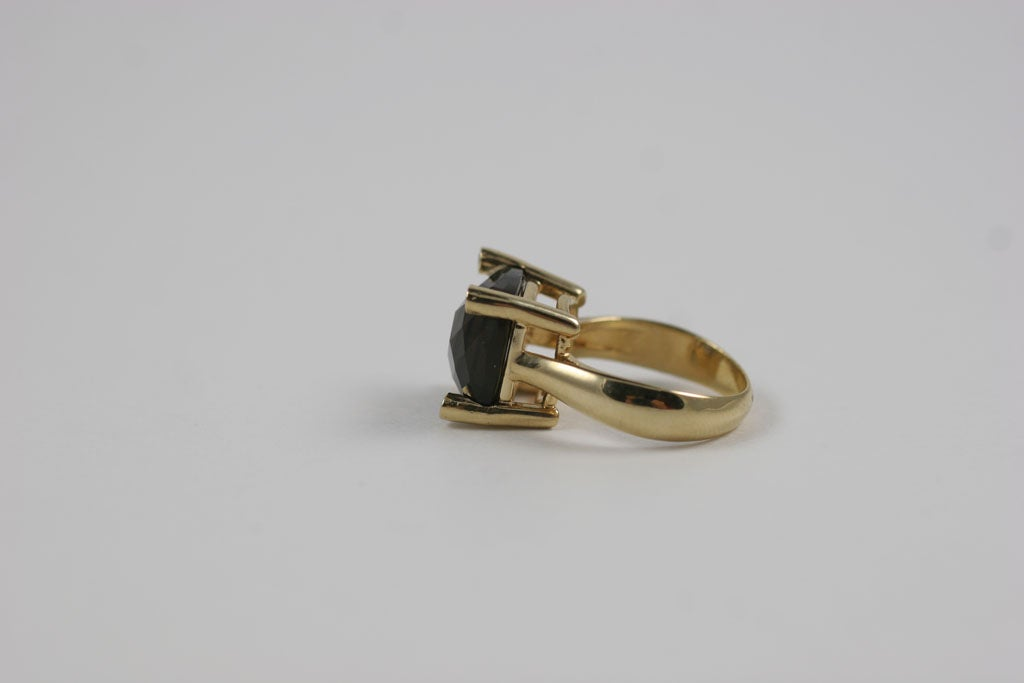 Smoky Topaz Cabochon Ring For Sale 1