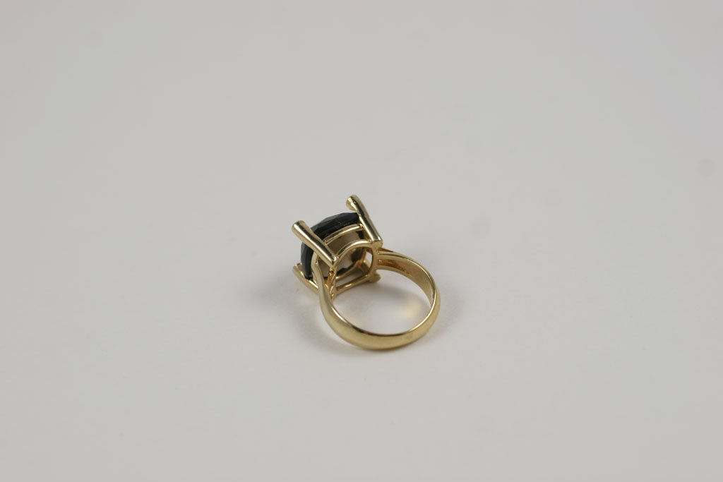 Smoky Topaz Cabochon Ring For Sale 2