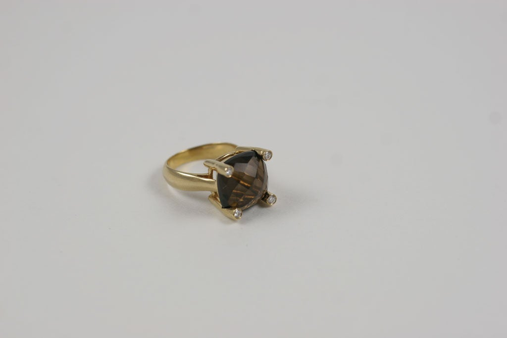 Smoky Topaz Cabochon Ring For Sale 4