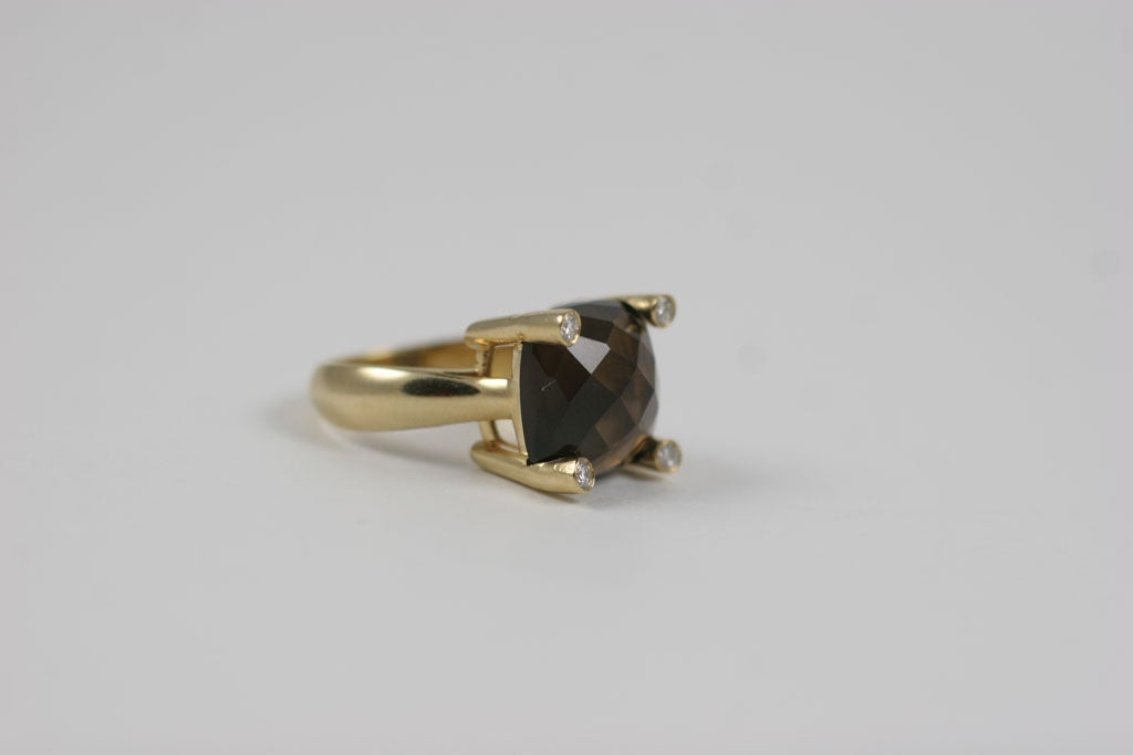 Smoky Topaz Cabochon Ring For Sale 5