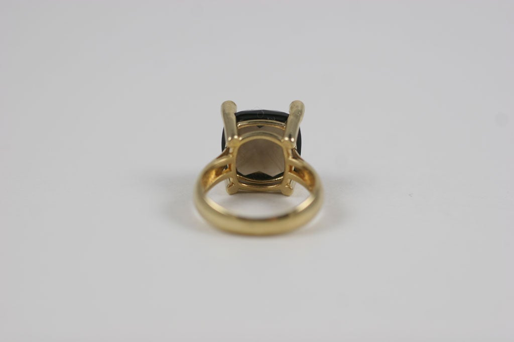Smoky Topaz Cabochon Ring For Sale 6