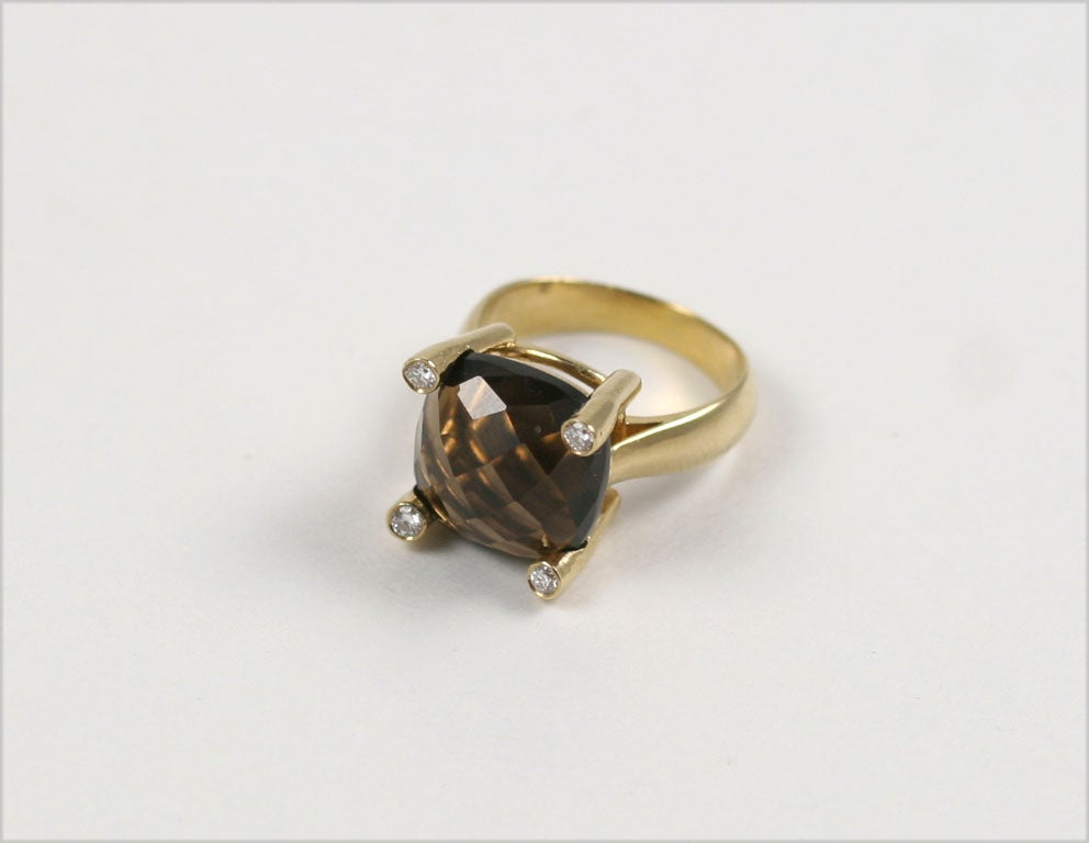 18kt Yellow Gold Cabochon Ring with Smoky Topaz and Diamonds - Also Available with Other Stone Options