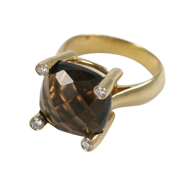 Smoky Topaz Cabochon Ring For Sale