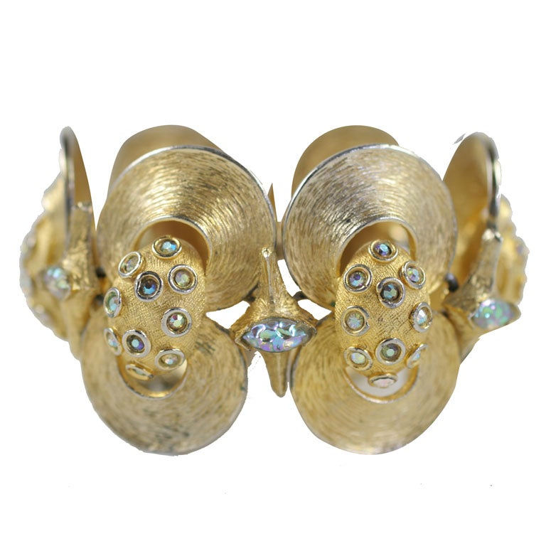 HOBE Rhinestone and Goldtone Clamshell Bracelet