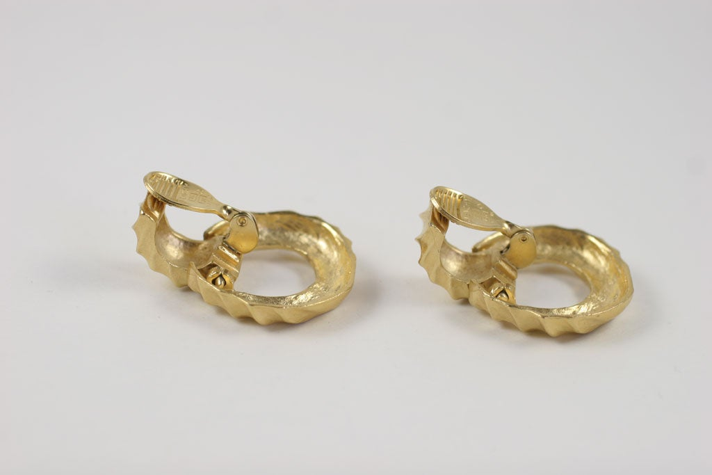 Givenchy Goldtone Hoop Earrings For Sale 1