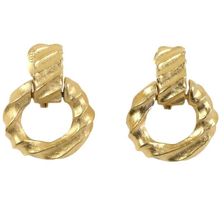 Givenchy Goldtone Hoop Earrings For Sale