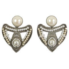 "Large Silvertone and ""Pearl"" Earrings"