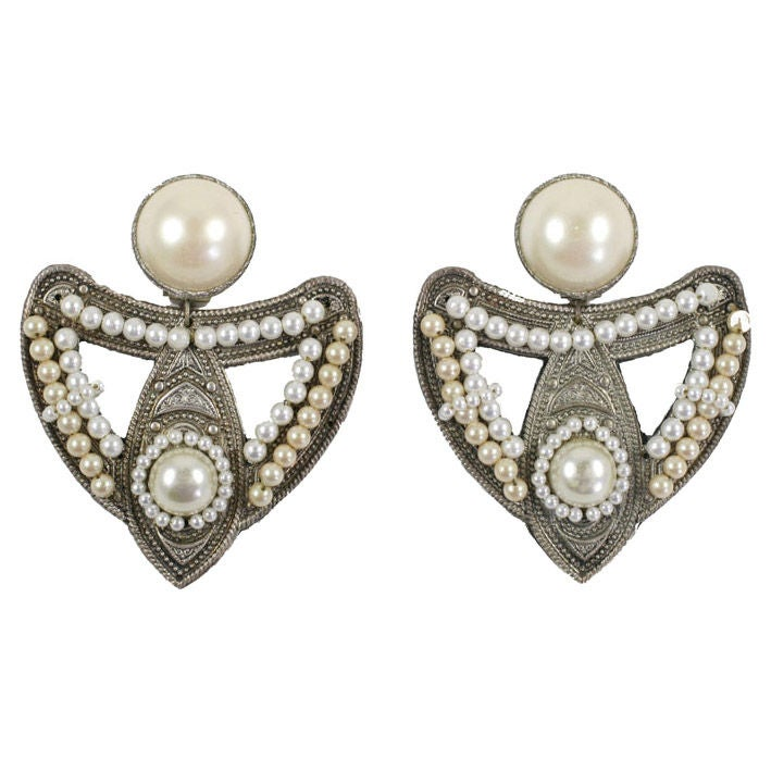 "Large Silvertone and ""Pearl"" Earrings For Sale"