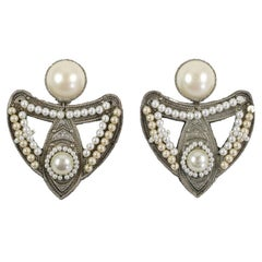 "Large Silvertone and ""Pearl"" Earrings, Costume Jewelry"