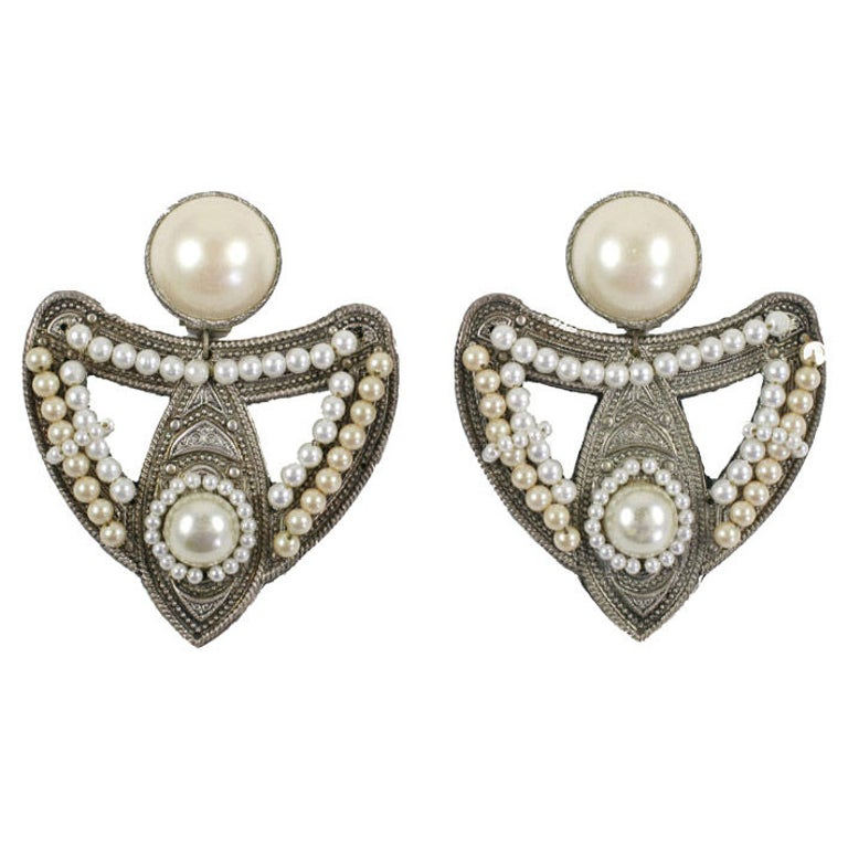 """Large Silvertone and """"Pearl"""" Earrings, Costume Jewelry For Sale"""