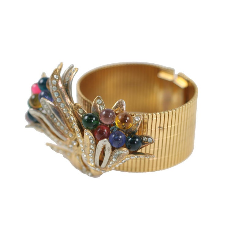 """Large Stylized Floral """"Gold"""" Bracelet, Costume Jewelry For Sale"""