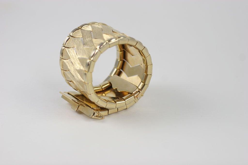Woven Goldtone Bracelet For Sale 6