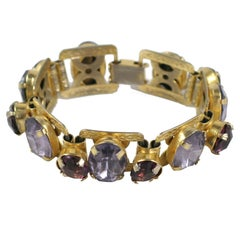 """Smokey Topaz"" and ""Amethyst"" ""Gold"" Bracelet, Costume Jewelry"