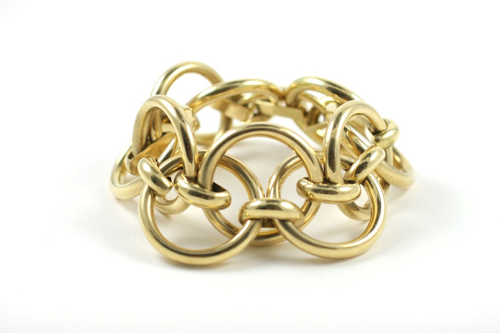 chunky gold link bracelet by demner at 1stdibs