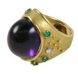 18kt Yellow Gold, Cabochon Amethyst , Emerald & Diamond Ring