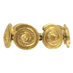 """Gold"" Swirl Bracelet, Costume Jewelry"