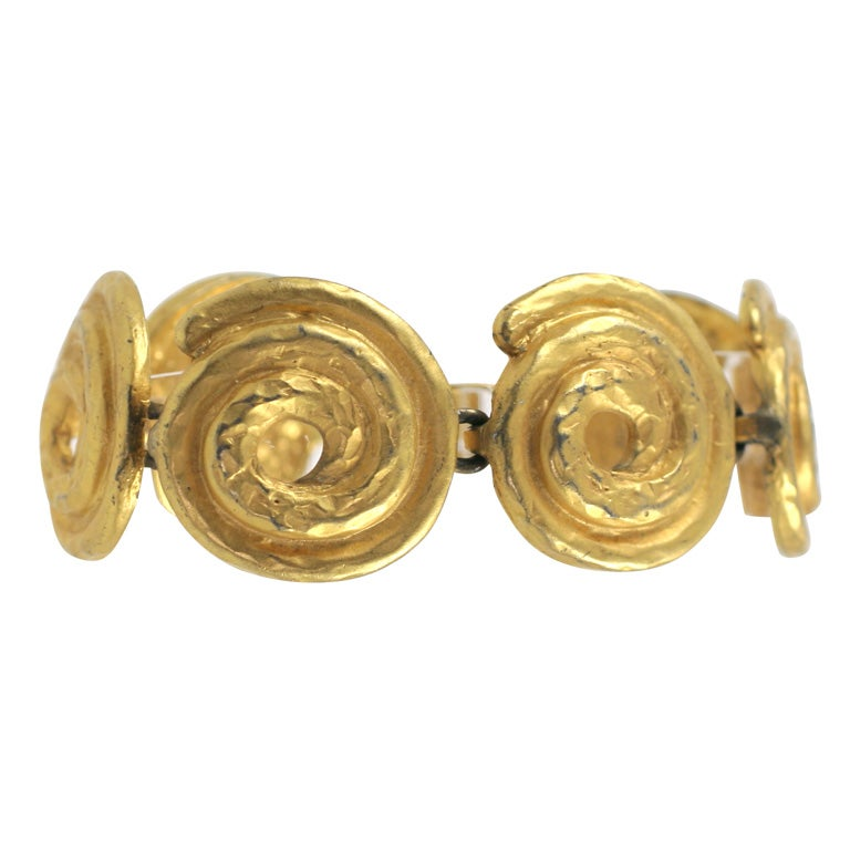 """Gold"" Swirl Bracelet, Costume Jewelry For Sale"