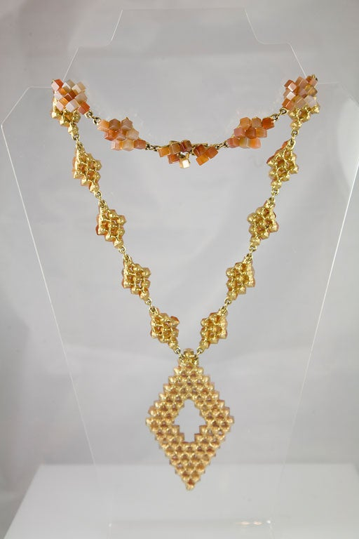 Diamond Pattern Agate Necklace For Sale 2