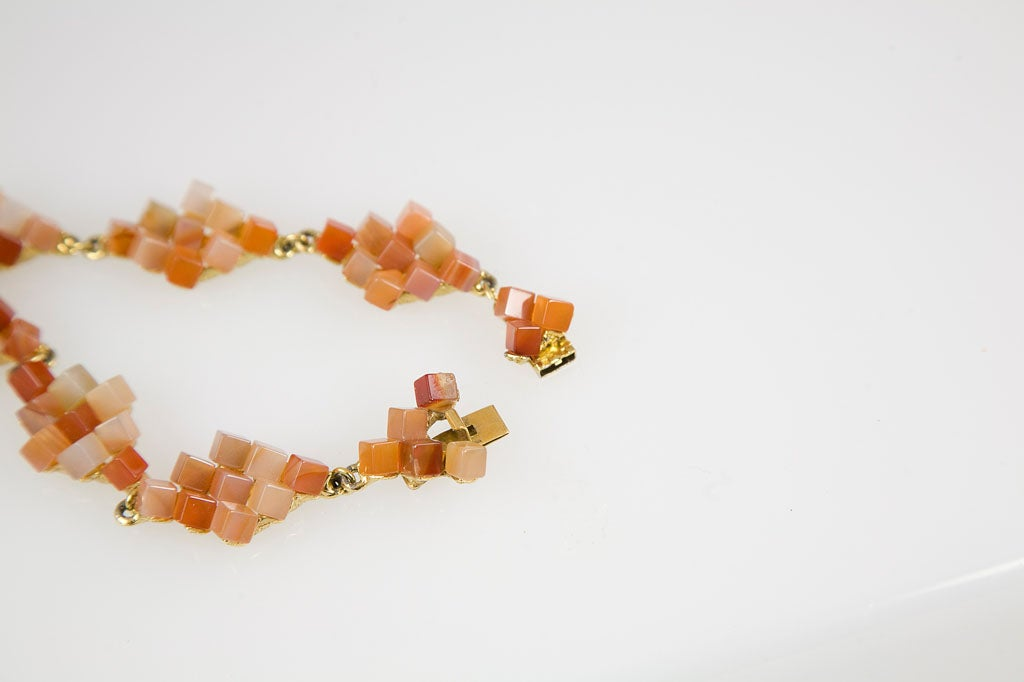 Diamond Pattern Agate Necklace For Sale 3