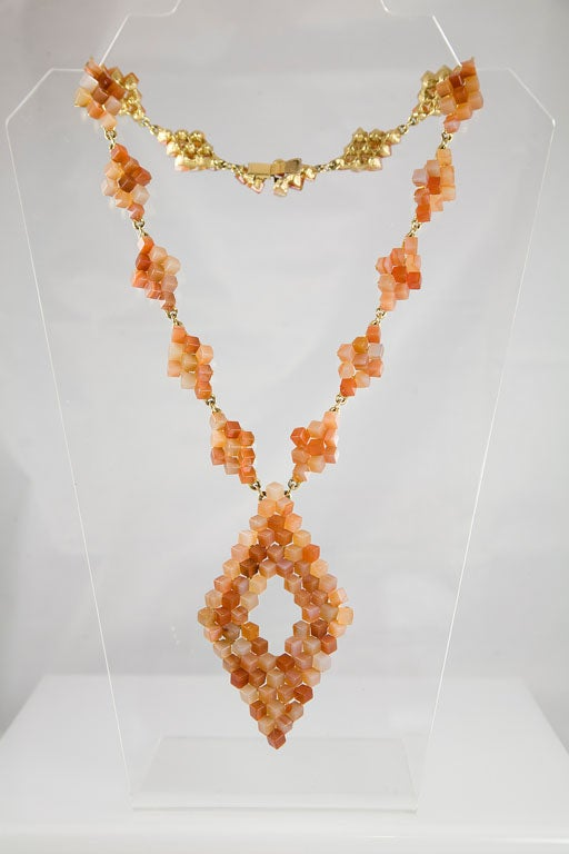 Diamond Pattern Agate Necklace For Sale 5