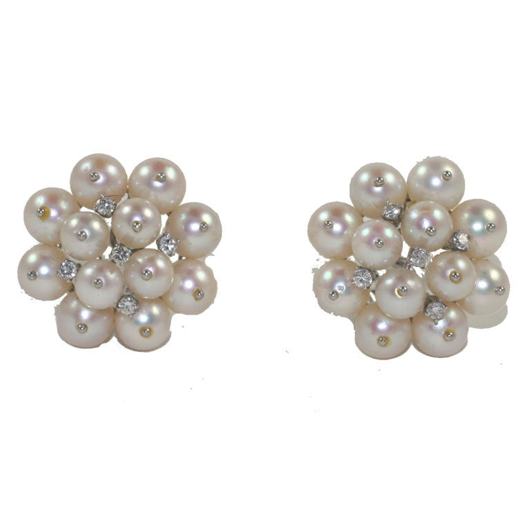 14KT WHITE GOLD, CULTURED PEARL & DIAMOND EARRINGS