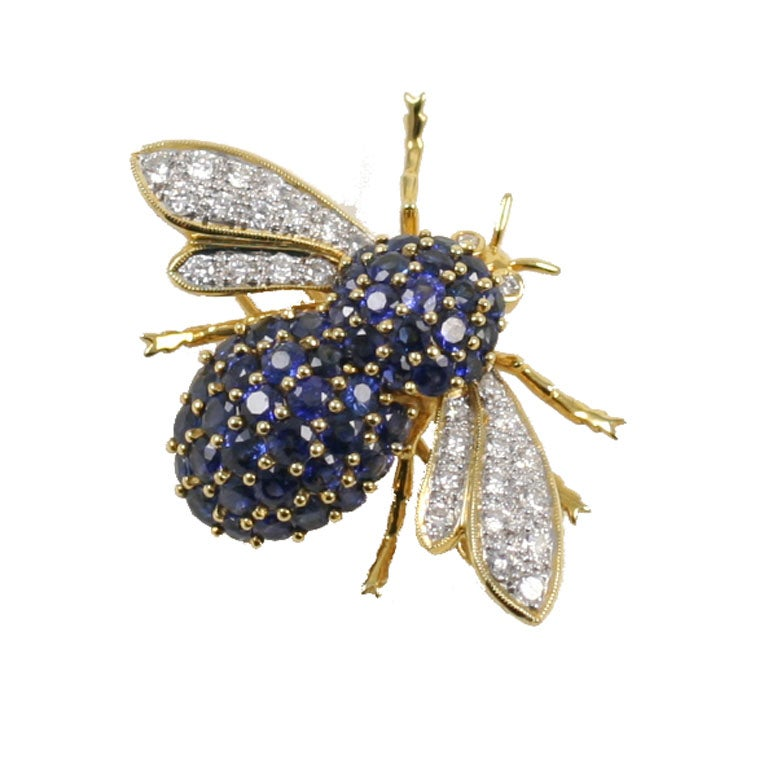 Sapphire And Diamond Bumble Bee Brooch At 1stdibs