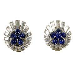 Platinum Cabochon Sapphire & Baguette Diamond Earring