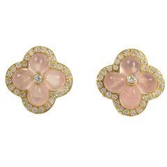 18K Yellow Gold Rose Quartz & Diamond Flower Earrings