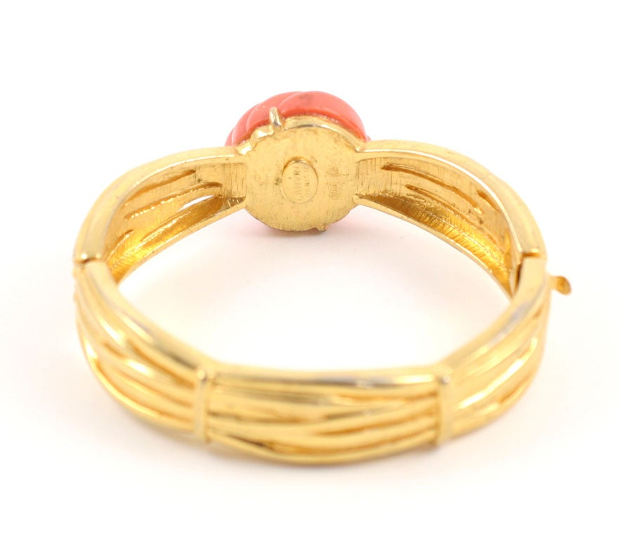 Women's Lanvin Faux Coral and Gold Bracelet, Costume Jewelry For Sale