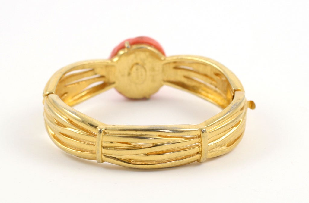 Lanvin Faux Coral and Gold Bracelet, Costume Jewelry For Sale 1