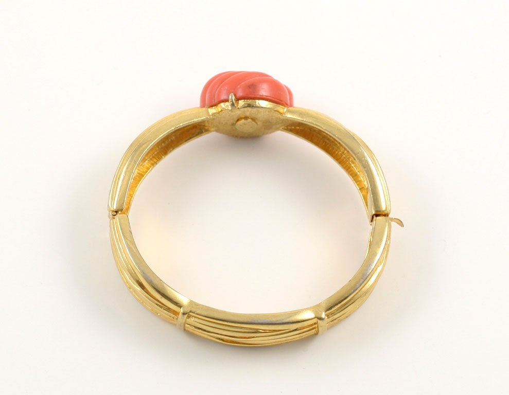Lanvin Faux Coral and Gold Bracelet, Costume Jewelry For Sale 2