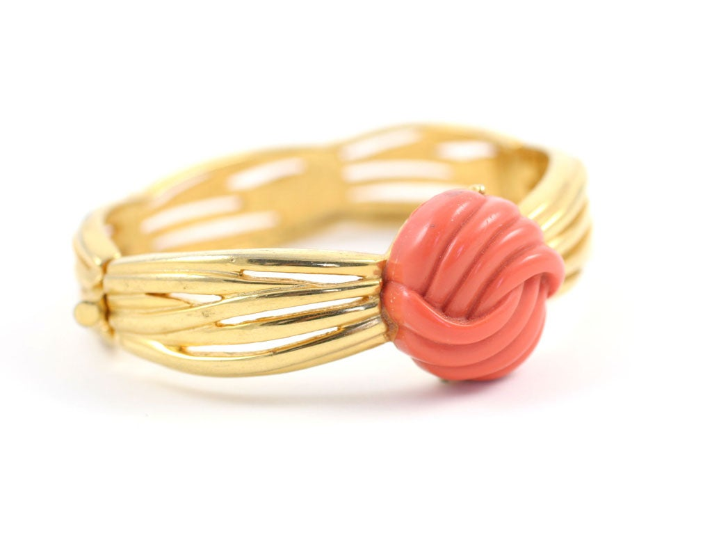 Lanvin Faux Coral and Gold Bracelet, Costume Jewelry For Sale 3