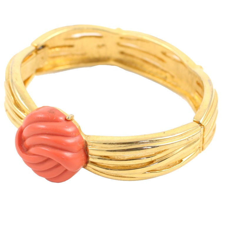 Lanvin Faux Coral and Gold Bracelet, Costume Jewelry For Sale